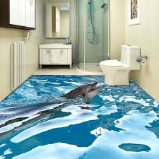 3d floor painting custom floor wallpaper ocean dolphin bathroom floor painting wear non slip thickened self 3d floor painting