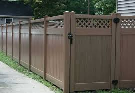 brown vinyl fencing. Fine Fencing Brown Vinyl Open Top Privacy Fencing And Gate Throughout Brown Vinyl Fencing E