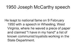 「1950 joseph mccarthy speech communism in the secretary of state」の画像検索結果