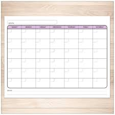 Printable Blank Purple Calendar Monthly Full Pages Pdf Purple Colored Days Of The Week Instant Download