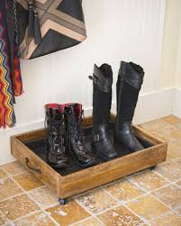 Decorative Boot Tray Small Wooden Boot Tray with Wheels Gardeners 22
