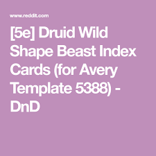 5e Druid Wild Shape Beast Index Cards For Avery Template