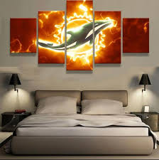 5 panel miami dolphins sports team logo modern home wall decor canvas picture art hd print on cleveland sports teams wall art with 5 panel miami dolphins sports team logo modern home wall decor