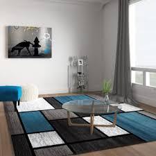 Overstockcom Contemporary Modern Boxes BlueGrey Area Rug  7u002710