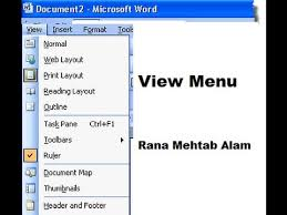 microsoft word menus how to use the view menu in ms word 2003 in urdu hindi lunar