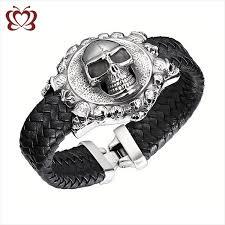 custom skull braided leather bracelet supplies