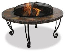 details about outdoor fire bowl pit slate marble wood burning patio deck backyard wrought iron