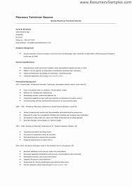 Pharmacy Technician Resume Templates Adorable Resume For Pharmacy Technician Fresh Best Pharmacy Technician Resume