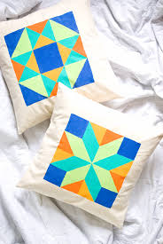 Painted Quilt Block Pillows | Handmade Charlotte & Painted Quilt Block Pillows Adamdwight.com