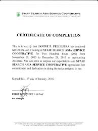 Certificate Of On The Job Training Completion Awesome Certificate Of