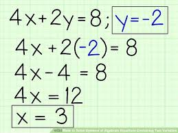 solve the system of equations by substitution what is the solution for x 2x y 1 4x 2y a2 math image titled solve systems of algebraic equations containing