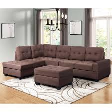 Sofa With Couch Designs Merax Sectional Sofa With Chaise Lounge Storage Ottoman And Cup Holders 3 Piece Sofa For Living Room Furniture Brown