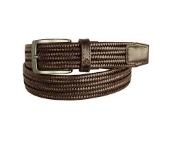 mens braided brown stretch leather belt alberto b8405 599