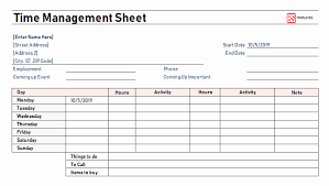 Time Management Sheet Template Fresh Time Management