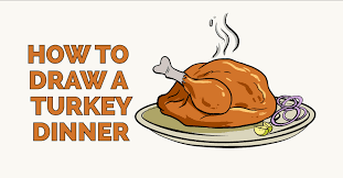 thanksgiving turkey dinner drawing.  Thanksgiving How To Draw A Turkey Dinner Feature Image With Thanksgiving Dinner Drawing