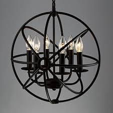 industrial vintage retro pendant light litfad 17 edison metal globe shade hanging ceiling light chandelier pendant lamp ceiling fixture black finish with