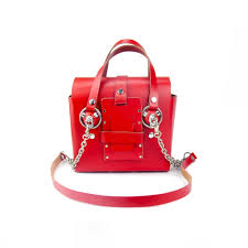 gofefe small red silver studded leather bag