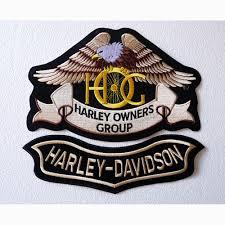 set 2 large patches aufnaren eagle hog harley davidson below