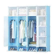 20 cubes plastic wardrobe with shoe rack blue