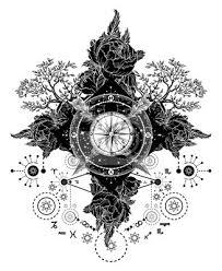 Fototapeta Tetování Kompas Zkříženými šípy Růže Stálezelený Strom