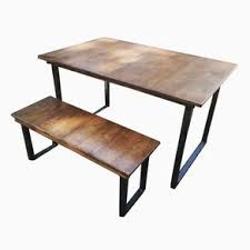 industrial reclaimed wood furniture. reclaimed wood table and bench with steel legs industrial furniture