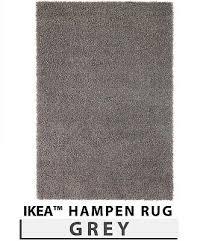 ikea hampen rug grey high pile home bedroom living room 133x195cm and 80x80cm