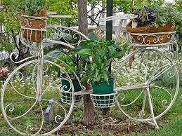 upcycling bikes creative reused old white bicycle with flower decoration