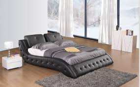 Milano Bedroom Furniture Milano Cow Leather Bed In Full Black Full White Leather Bed