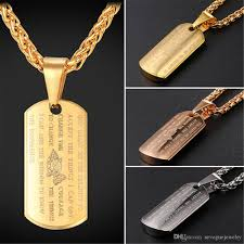 whole stainless steel dog tag pendant with holy and cross necklace for men 18k gold plated rose gold plated fashion jewelry choker necklace gold