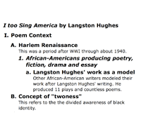 use these language arts examples to integrate into  poetry analysis outline i too sing america by langston hughes