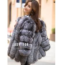silver womens autumn winter coat warm fox fur coat outerwear fur coat s 4xl