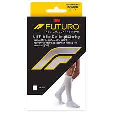 Futuro Anti Embolism Moderate Compression Knee Length Closed Toe Stockings White White