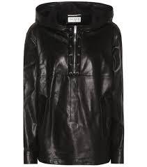 saint lau leather hoo black women clothing tops long sleeved