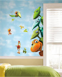 Bedrooms:Modern Dinosaur Themed Kids Bedroom With Green Bed And Dinosaur  Wall Mural Inspiring Kids