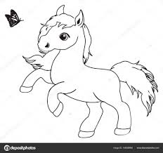 Kleine Schattige Paard Kleurplaat Stockfoto Tatty77tatty Inside