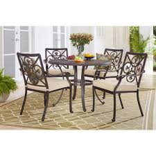 hton bay ainsworth 5 piece aluminum round outdoor dining set with oatmeal cushions