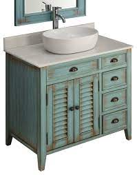 36 Distress Blue Abbeville Vessel Sink Vanity Cf 78886bu Beach Style Bathroom Vanities And Sink Consoles By Chans Furniture Showroom Houzz