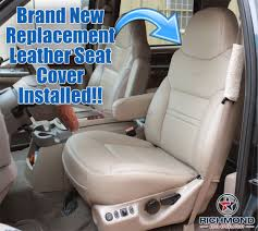00 01 ford excursion limited driver side lean back bucket leather seat cover tan