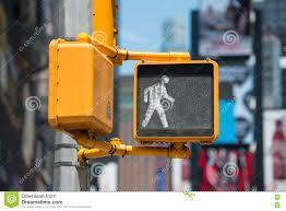 Walking Sign Light Pedestrian Traffic Walk Light On New York City Street Stock