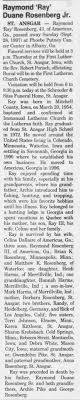 "Rosenberg, Raymond Duane ""Ray"" Obituary 01 Oct 1997 - Newspapers.com"