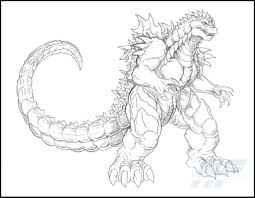 A Detailed Sketch Of Almighty Godzilla