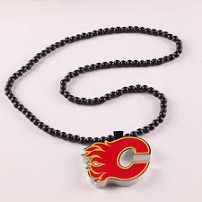 10pcs hockey calgary flames color printing team team logo pendant necklace white wood beads for men