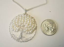custom made pearl tree of life pendant necklace round sterling silver wire wrap