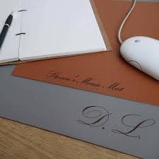 personalised engraved leather desk mat