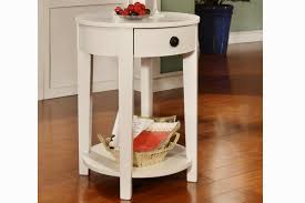 wood white round end table
