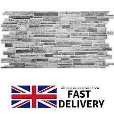 3d wall panels grey stone brick slate