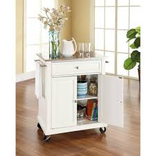 crosley white kitchen cart with stainless steel top kf30022ewh the home depot
