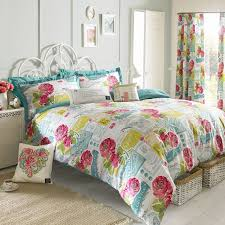quilt sets quilt with matching curtain red yellow blue white color combine flowers shades in