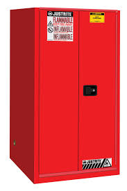sure grip ex flammable safety cabinet 60 gallon 1 bi fold self close door red