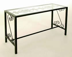 glass table top view. French Traditional Console Table In Iron With Glass Top Insert View E